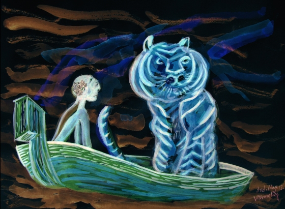 Art, Artwork, Painting, Paint, Wallpaper, Large, Medium, Book Cover, Poster, Pi, 2012, Life of Pi, Boat, Yaan Martel, Ang Lee, Film, Movie, Book, Bengal Tiger, Pi Patel, Royal