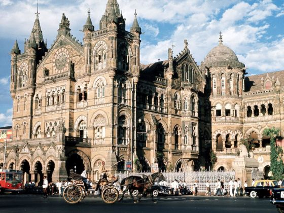The Chhatrapati Shivaji Terminus, formerly known as Victoria Terminus Station, in Mumbai