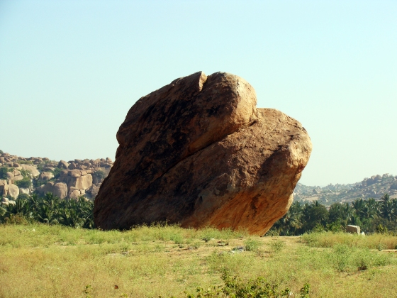 Boulder on the Virupapura Gaddi side of the river, Hampi by Shekhar Roy © Copyright 2013