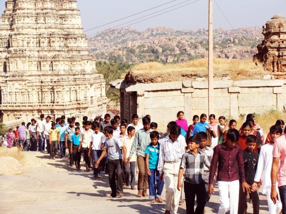 Pilgrims infront of Virupaksha temple by Shekhar Roy © Copyright 2013