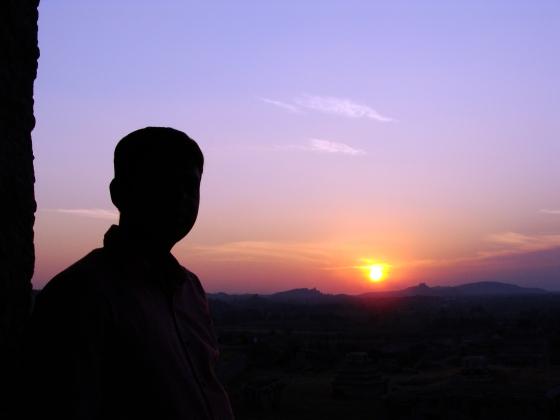Bidding final goodbye to the sun at Hampi by Vikram Roy © Copyright 2013