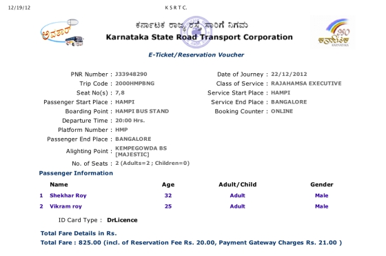 K S R T C Return Tickets From Hampi to Bangalore booked by Vikram Roy © Copyright 2013