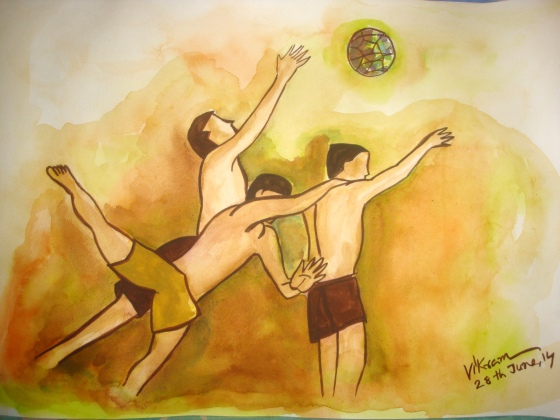 Medium: Water Colour on paper, Name: Soccer fever Dated: 28th June 2014
