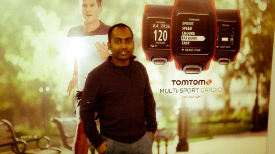 At TomTom event before I headed back. Photo credit: Soumajit Raka 2015.