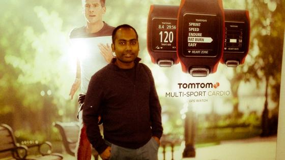 At TomTom event before I headed back. Photo credit: Soumajit Raka 2015.
