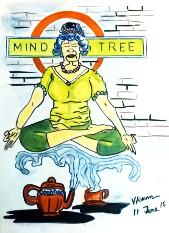 Queen Elizabeth II & Yoga, Medium: Watercolor on paper, by Vikam Roy