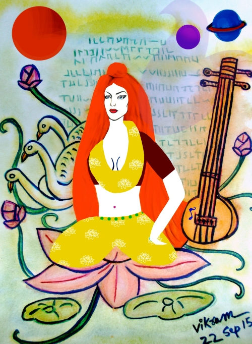 Subject: Saraswati, the Hindu goddess of communications, music and art. Mixed Medium: Water Colour & Graphic Art Technique, Art Direction: Vikram Roy © Copyright 2015 Date of creation: 22 Sep, 2015.